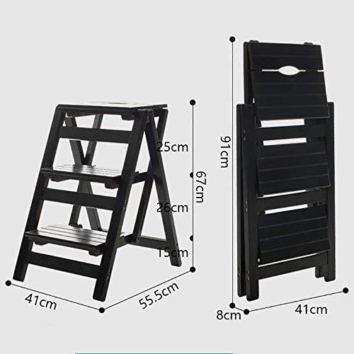 JZX Taburete del paso del hogar, taburete plegable del paso de la fotografía, silla plegable de madera de 3 niveles Escalera ascendente móvil Soporte de la flor Barra de mostrador,Neg