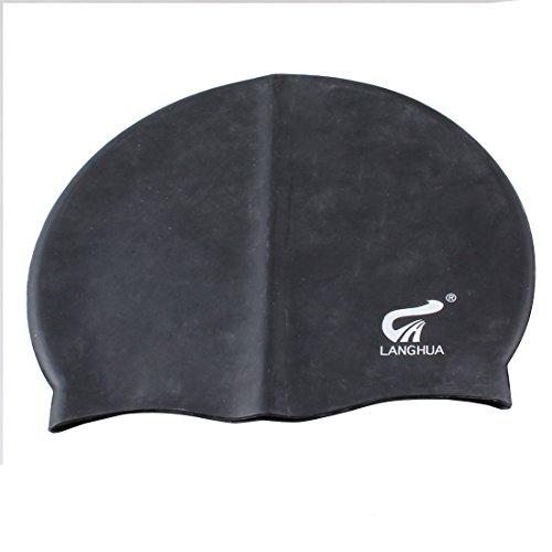 sourcingmap Adultes Forme Dôme Silicone Noir Élastique Natation Swim Cap Hat