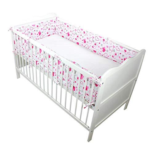 TupTam Baby Bedomrander voor Ledikant Lang Hoofdbeschermer, Harten Roze/Grijs, 420x30cm (voor babybed 140×70)