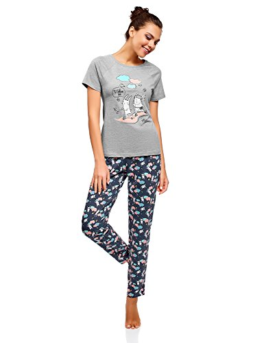 oodji Ultra Women's Cotton Pajama Set with Pants, Grey, US 8 / EU 42 / L