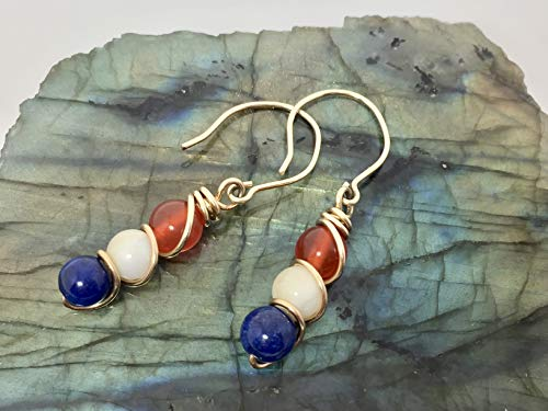 Earrings 14k Gold Filled Wire, Red Carnelian, Calcite And Lapis Lazuli Blue Earrings Red Earrings White Earrings