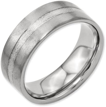 Bridal Titanium Sterling Silver Inlay Flat 8mm Brushed Band