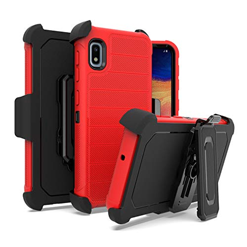 EnCASEs Belt Clip Holster Cell Phone Case for Samsung Galaxy A10E, Dual Layer Matte Delux Hybrid Case, Shockproof Bumper…