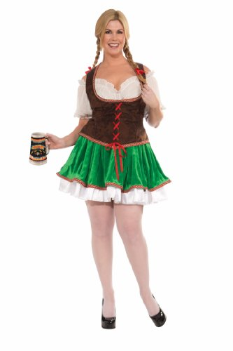 Forum Plus-Size Beer Garden Cutie Costume, Green/Brown, Plus Size