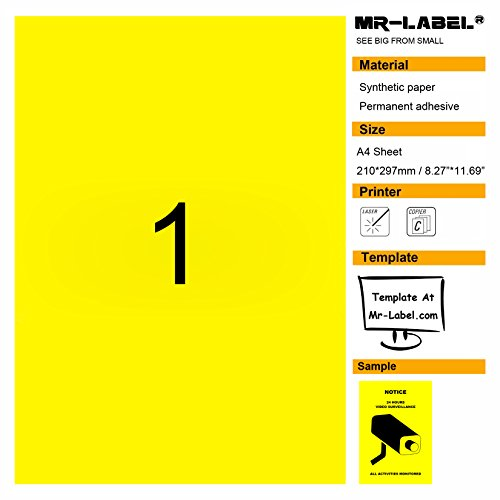 "Mr-Label Blank Glossy Yellow Warning Labels - Best for ""VIDEO SURVEILLANCE"" Sign-Permanent Adhesive-Laser Printer Only by Mr-Label"