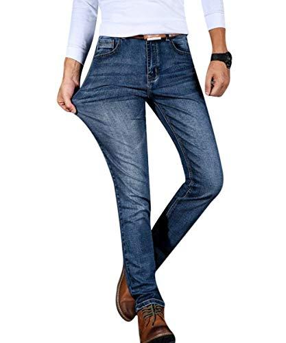 Stretch Blau Especial Pantaloni Jeans Estilo Da Comodi Denim Retro Fit Slim Morbidi Uomo Dritti fcEOcZq