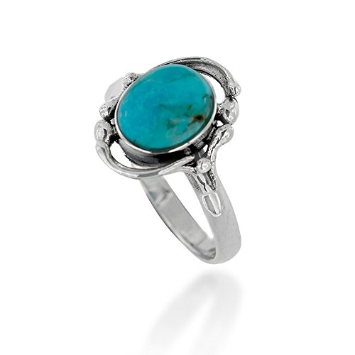 925 Oxidized Sterling Silver Turquoise Gemstone Oval Statement Ring, Size 8