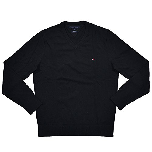 Pima Cotton Sweater Mens - Tommy Hilfiger Mens Pima Cotton Cashmere V-Neck Sweater (M, Black)
