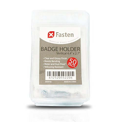XFasten Waterproof PVC Vertical ID Card Badge Holder, Clear and Yellowing Resistant, Pack of 50 Proximity and Cruise Plastic Card Holder Pouch with Resealable Zip