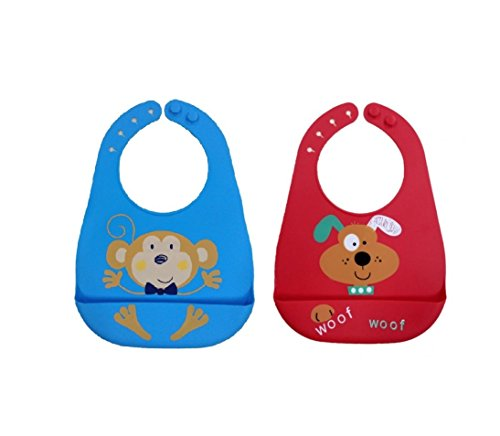 Baby Bibs for infants and Toddlers with Food catching pockets Soft Washable silicone easy to Clean ( 2 Pack )