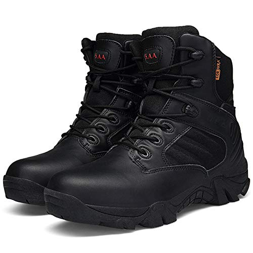 Agmcee Mens Military Police Army Combat Boots Armed Tactics Security Boot Outdoor Desert Hiking Shoe Mountaineering Lightweight Shoes,Black,40