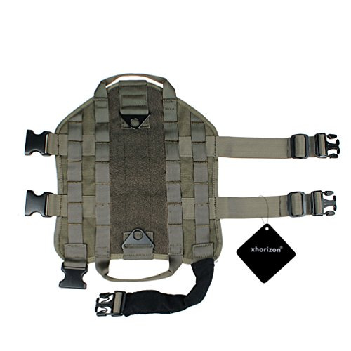 Army Tactical Dog Vest,Xhorizon(TM)XH8 1000D Nylon Tactical Dog Molle Vest Harness Autumn And Winter Pet Vest Training Molle Harness(Army Green,L)