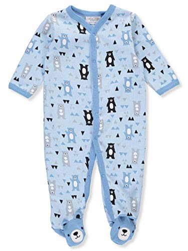 Rene Rofe Baby Baby Unisex Waffle Knit Coveralls, Blue Bears, 6-9 Months
