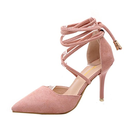 Hunzed women Fashion Gladiator Shoe Ankle Strap High Heels Shoes Ladies Casual Shallow Tied Shoes (Pink, 38) (High Fashion Moisturizer)