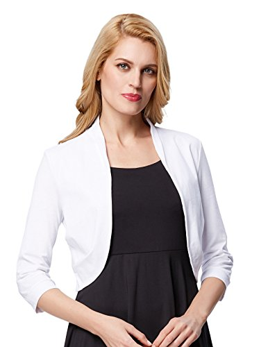 Classic Vintage Cardigan (Women's Cocktail Dress Cover Up Cardigans (M, White 512-2))