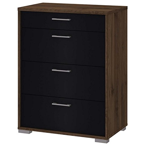 Tvilum Homeline 4 Drawer Chest in Walnut and Black 4 Drawer Chest In Walnut