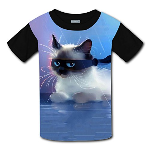Crew Neck New Funny Shirts 3D Printed With Ninja Cat For Boys Girls M ()