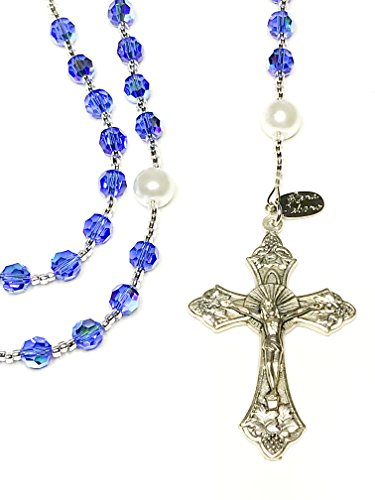 Swarovski Rosary Cross - Rana Jabero - Beautiful Sparkling Birthstone Rosary Beads Made with Genuine Crystals from Swarovski and Glass Pearls. Perfect for Catholic Religious Prayers (September)