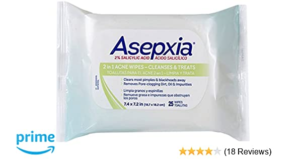 Amazon.com: Asepxia Acne Maximum Strength Medicated Cleansing Wipes with Salicylic Acid 2%, 25 Count: Beauty