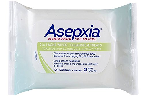 Asepxia Acne Maximum Strength Medicated Cleansing Wipes with Salicylic Acid 2%, 25 Count