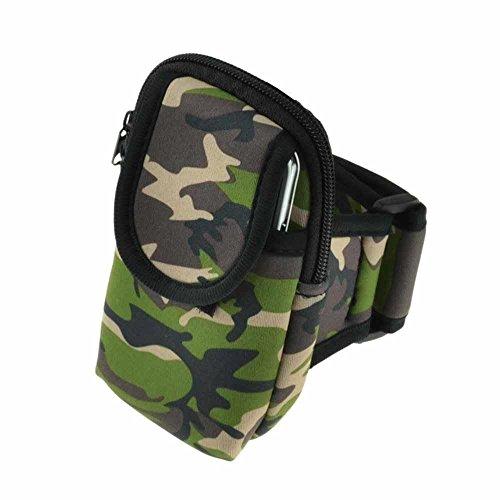 Deet® iPhone 6 Plus/6S, motivo mimetico, colore: verde militare-Fascia da braccio con tasca con cerniera per chiavi, soldi o oggetti di valore