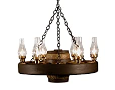 Small Wagon Wheel Chandelier Chimney Lights