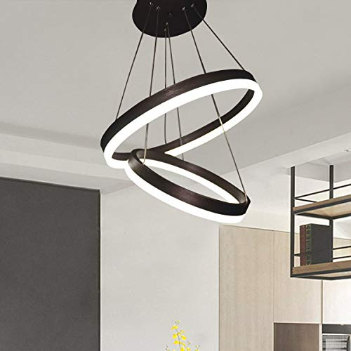 Jaycomey Modern LED Pendant Light,Circular Acrylic Chandelier Adjustable Two Rings Ceiling Pendant Light for Living Room Bedroom Kitchen Resturant,6000K/Cool White,44W (Ring Two Circles)