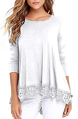 Unidear Womens Long Sleeve Lace Trimmed Tunic T-Shirt Tops Solid Color White#3 -