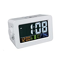 Alarm clock, EWTTO Digital Multifunction Clock Color Display with Indoor Temperature/Humidity/Date/USB Port for Home/Office(White/Color Screen)