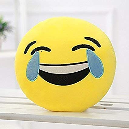 PRACHI TOYS Smiley Thick Plush Pillow Round Cushion Pillow Stuffed /Gift for Kids/for Birthday Gift -30CM , Yellow (Laughing Tears Smiley)
