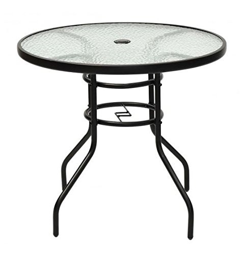 MD Group Patio Table Round 31.5'' Tempered Glass Steel Frame Weather & Waterproof Resistant by MD Group