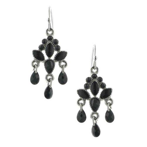 Vintage 1928 Costume Jewelry (1928 Jewelry Silver-Tone Black Chandelier Drop Earrings)