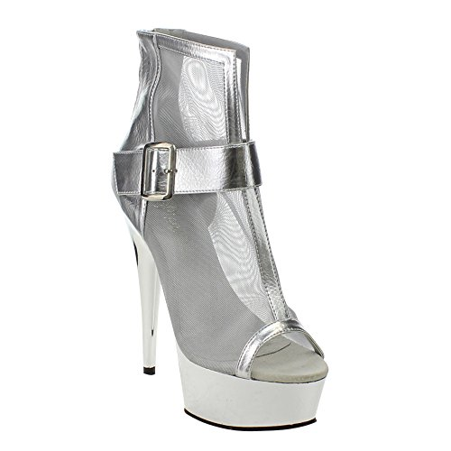 Pu slv 600 mesh Pleaser Del600 23 sch Chrome smpu Delight Metallic Slv 23 66Pzw