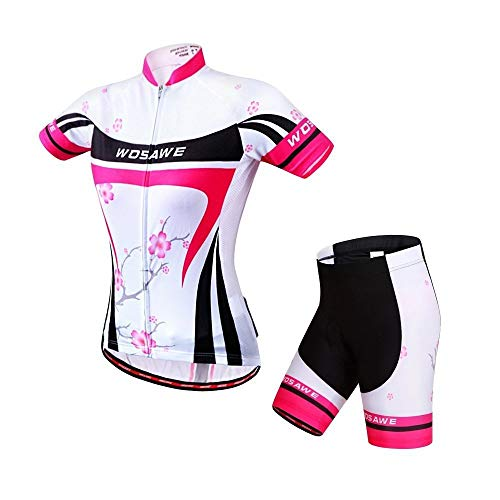 WOSAWE Women Short Sleeve Cycling Jersey and Shorts Suit, Plum Flower, Size - New Flower Jersey