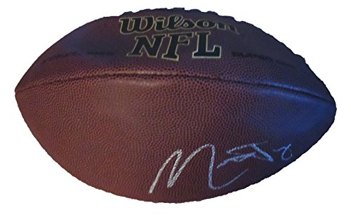 Mitchell Autographed Football - Mitchell Trubisky Autographed Wilson NFL Football W/PROOF, Picture of Mitch Signing For Us, Chicago Bears, North Carolina Tar Heels, 2017 NFL Draft, Top Prospect