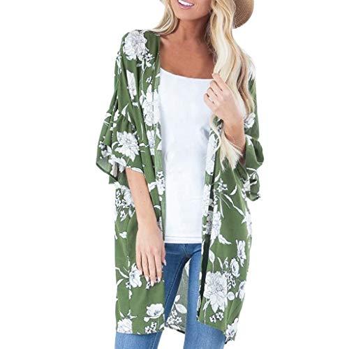 Fashion Pretty Cardigan Womens Floral Ruffles Long Blouse Loose Tops Outwear Green