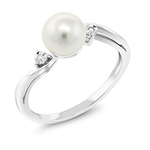 10K White Gold 6MM Cultured Freshwater Pearl Women's Ring With Diamond (Available in size 5, 6, 7, 8, 9)
