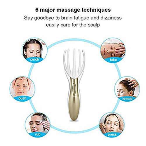 Tezam Head Massager Neck Massage Octopus Scalp Stress Relax Spa Therapy Healing, Soft Resin Finger Gripper Claw Electronic Head Spa Vibration Scalp Massage Tool, Brown
