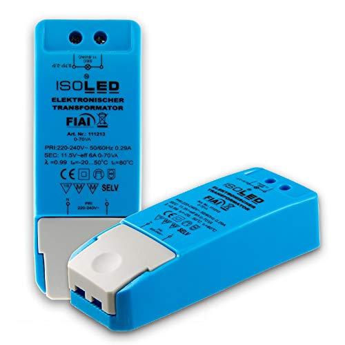 LED haló geno MR16 GU5.3, 12 V/AC, de 0 a 70 W, sin carga mí nima, sin parpadeo de LED, sin ruido del transformador, fuente de alimentació n del controlador LED regulable, sin carga mí nima, 70 VA 12V/AC