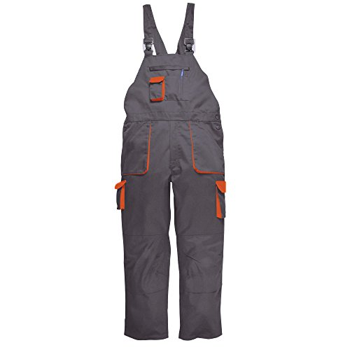 Portwest Contrast Bib & Brace/Workwear (M x Regular) (Gray/Orange) from Portwest