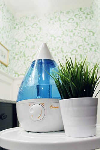 Crane USA Humidifiers - Blue & White Drop Ultrasonic Cool Mist Humidifier - 1 Gallon Adjustable Mist Output, Automatic Shut-off, Whisper-Quiet Operation, for Home Bedroom Office Kids and Baby Nursery
