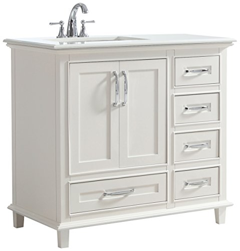 Simpli Home Ariana 36 inch Bath Vanity with Bombay White Quartz Marble Top Soft White (Quartz Bath)
