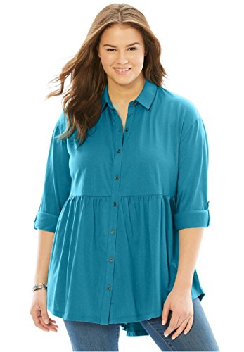 Women's Plus Size Flounce Hem Tunic Oasis,34/36 (36 Tops Soft)