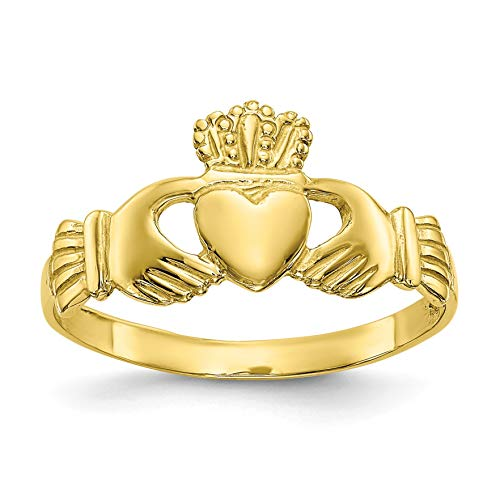 Bonyak Jewelry 10k Polished Ladies Claddagh Ring in 10k Yellow Gold - Size 7