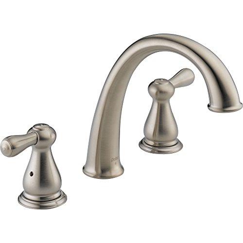Stainless Leland Double Handle (Delta Leland Widespread Stainless Steel Finish Roman Tub Faucet with Valve D916V)