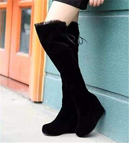 Botas Heel Shoes Boots Suede 36 's Lace Warm Up Mujer Casual Long Deed Barrel Eu De Redondo RdBxq
