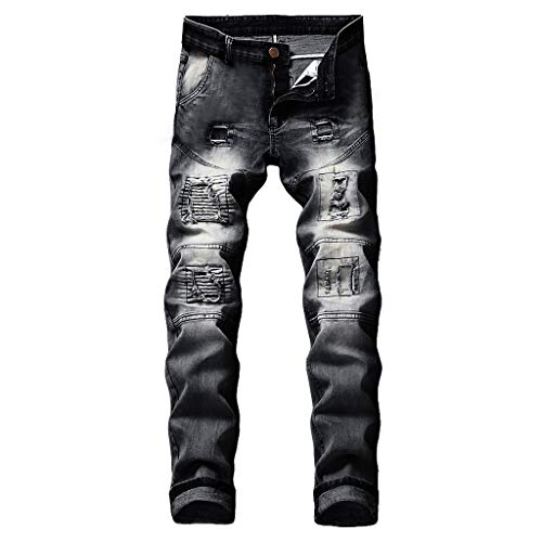 Flannel Duck Washed Dungaree Lined (NUWFOR Men's Stretchy Ripped Skinny Biker Jeans Destroyed Taped Slim Fit Denim Pants(Black,US:40/AS:40 Waist:40.2