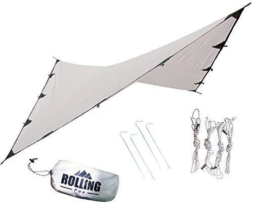 Rolling Fox Tarp Shelter Waterproof lightweight Camping and Survival Tarp Shelter (Cream, 360x280 cm)