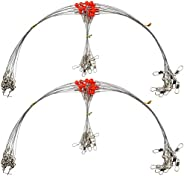 Fishing Wire Leader Rig Wire Trace Leader with Swivel Snaps Beads Stainless Steel Leader Rigging 1-2 Arm 12pcs