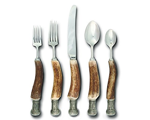 Vagabond House Real Antler Flatware Set with Pewter Crown Cap ()